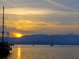 Sailing Boat at Sunset in the Harbor of Nafplio  Peloponnese  Greece  Europe