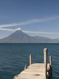A Jetty in Panajachel  San Pedro Volcano in the Background  Lake Atitlan  Guatemala