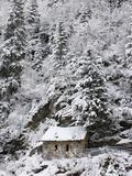 Snowed Covered Notre-Dame De La Gorge Chapel  Les Contamines  Haute-Savoie  France  Europe