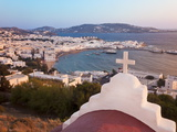 Elevated View Over the Harbour and Old Town  Mykonos (Hora)  Cyclades Islands  Greece