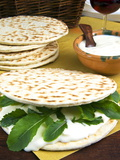 Piadina Flat Bread With Rucola and Stracchino Cheese  Typical Emilia Romagna Food