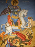Icon Depicting St George Slaying a Dragon in St George's Orthodox Church  Madaba  Jordan