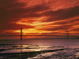 Forth Road Bridge at Sunset  Crossing Firth Between Queensferry and Inverkeithing Near Edinburgh