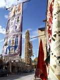 Main Street With Mosque and Carpet Shop Display  Tozeur  Tunisia  North Africa  Africa