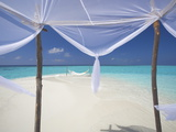 Hammock Hanging in Shallow Clear Water  the Maldives  Indian Ocean  Asia