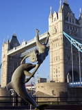 Girl and the Dolphin Statue and Tower Bridge  London  England  United Kingdom  Europe