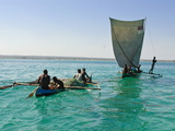 Traditional Sailing Boat and Rowing Boat in the Turquoise Water of the Indian Ocean  Madagascar
