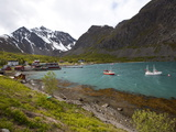 The Small Harbour of Koppangen at Lyngen Peninsula  Troms County  Norway  Scandinavia  Europe