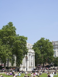 Tourists Picnicking Near Marble Arch  London  England  United Kingdom  Europe