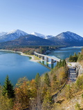 Road Bridge Over Lake Sylvenstein  With Mountains in the Background  Bavaria  Germany  Europe