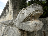 Massive Stone Carving of Snake Head  Chichen Itza  Yucatan  Mexico  North America
