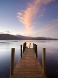 Jetty and Derwentwater at Sunset  Near Keswick  Lake District National Park  Cumbria  England  Uk
