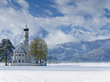 St Coloman Church in Winter  Oberbayern  Bavaria  Germany  Europe