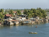 Fishermen's Stilt Houses in Wetlands at South End of Lingayen Gulf  Philippines