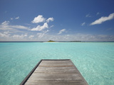Wooden Jetty and Tropical Sea  View From Island  Maldives  Indian Ocean  Asia&10;