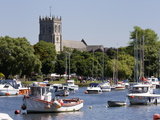 Christchurch Priory and Pleasure Boats on the River Stour  Dorset  England  United Kingdom  Europe