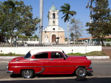 Classic Red American Car Parked By the Old Square in Vinales Village  Pinar Del Rio  Cuba