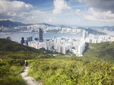 Man Hiking on Trail Through Hills Behind Quarry Bay  Hong Kong  China  Asia