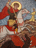 Mosaic of St George Slaying the Dragon in St George Coptic Orthodox Church  Cairo  Egypt