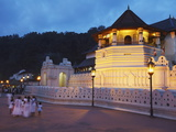 People Outside Temple of the Tooth (Sri Dalada Maligawa) at Dusk  Kandy  Sri Lanka