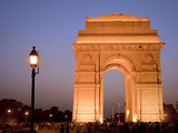 India Gate Illuminated in Evening  New Delhi  India  Asia