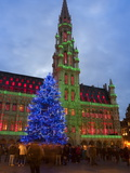 City Hall  Grand Place  UNESCO World Heritage Site  at Christmas Time  Brussels  Belgium  Europe