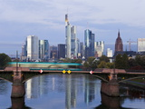 Skyline and River Main in the Early Morning  Frankfurt-Am-Main  Hesse  Germany  Europe