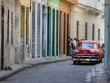 Colourful Street With Traditional Old American Car Parked  Old Havana  Cuba  West Indies  Caribbean