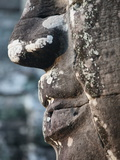 Detail of Stone Face on Towers in the Bayon Temple  Angkor Thom  Cambodia