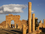 Columns of the Capitol and Arch of Antoninus Pius in the Forum  Roman Ruins of Sbeitla  Tunisia