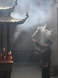 Worshipper  Kun Iam Temple  Macau  China  Asia