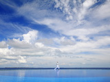 Young Man Meditating By Infinity Pool  Maldives  Indian Ocean  Asia
