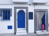 Young Child and Quayside House in the Old Port  Bizerte  Tunisia  North Africa  Africa