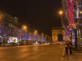 Champs Elysees at Christmas Time  Paris  France  Europe