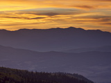 Orange Clouds at Sunset Over Layered Mountains  Manti-La Sal National Forest  Utah  USA
