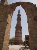 Qutb Minar Through Arch  Qutb Complex  Delhi  India  Asia