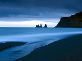Twilight View Towards Rock Stacks at Reynisdrangar Off the Coast at Vik  South Iceland  Iceland