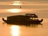 Houseboat at Dusk in Ashtamudi Lake  Kollam  Kerala  India  Asia