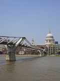 Millennium Bridge Over the River Thames and St Pauls Cathedral  London  England