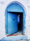 Blue Painted Doorway With Wooden Door  Chefchaouen  Morocco  North Africa  Africa