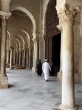 Colonnade Bordering the Courtyard of the Great Mosque Okba  Kairouan  Tunisia