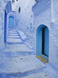 Blue Painted Doorways and Steps  Chefchaouen  Morocco  North Africa  Africa