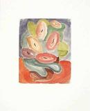 Abstrakte Blumen in Rosa und Grün  c1914/15