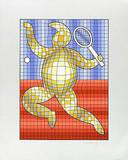 Tennis Rot/Blau auf Silber