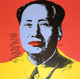 Mao Tse-Tung Kopf Blau-Gelb
