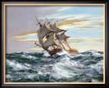 Dès l'aube contre vents et marée Reproduction giclée encadrée par Montague Dawson