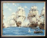 La bataille de Trafalgar Reproduction giclée encadrée par Montague Dawson