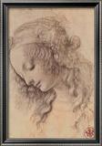 Testa di Giovinetta Reproduction encadrée par Leonardo Da Vinci