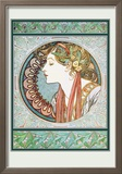 Woman's Profile Reproduction encadrée par Alphonse Mucha