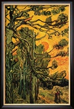 Pine Trees Against a Red Sky with Setting Sun Reproduction encadrée par Vincent Van Gogh